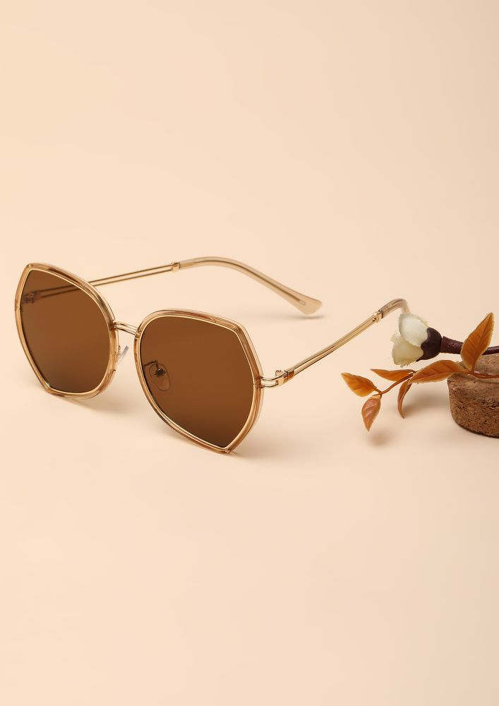 THE NOUVEAU FASHIONISTA TEA BROWN RETRO SUNGLASSES