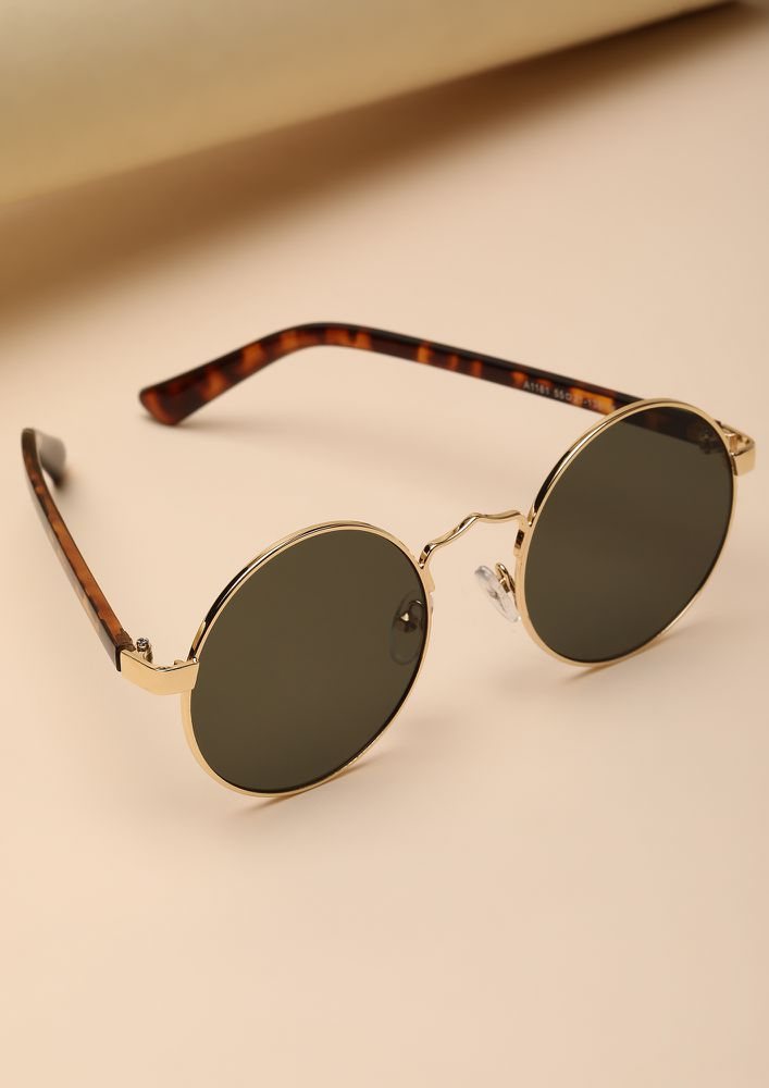 CLASSIC AND COOL FOREVER OLIVE ROUND SUNGLASSES