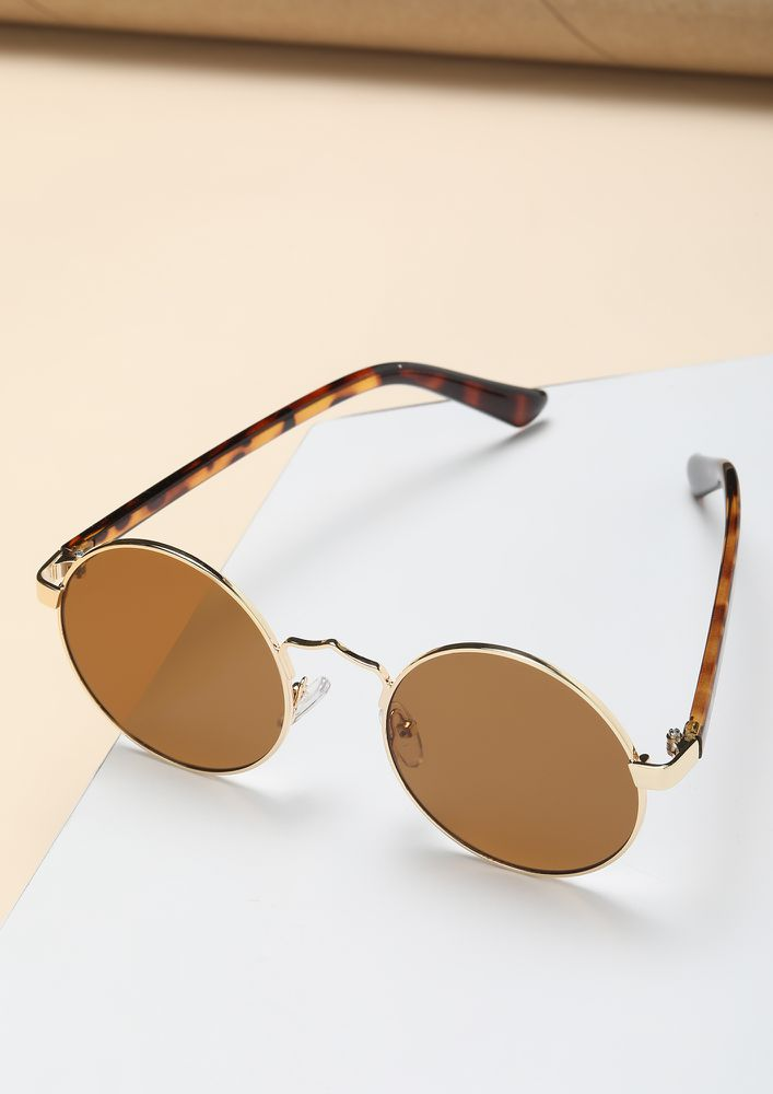 CLASSIC AND COOL FOREVER BROWN ROUND SUNGLASSES