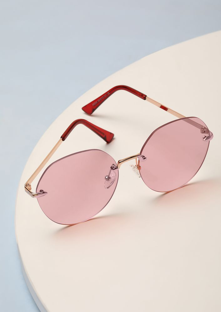IN THE HOOD PINK ROUND SUNGLASSES