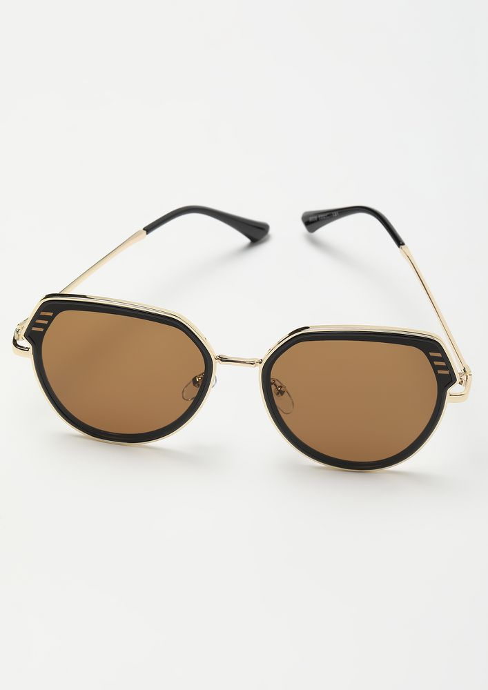 A SMOOTH TALKER TEA BROWN TEARDROP AVIATORS