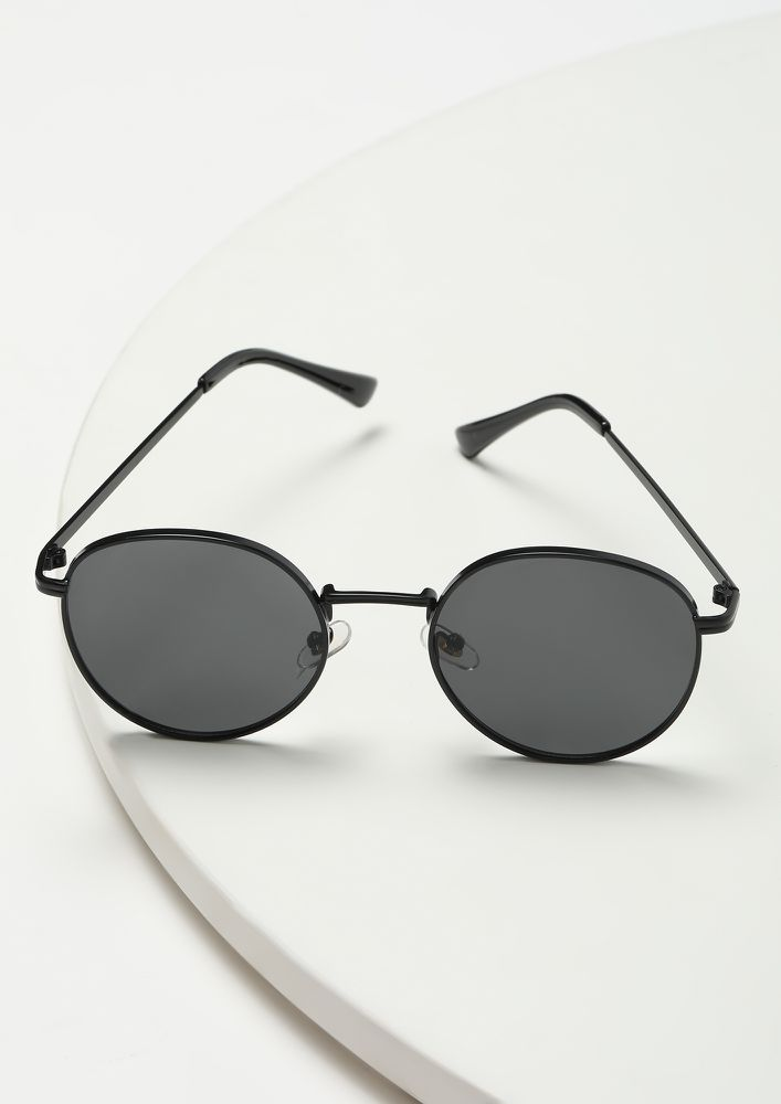 SEE YOU AROUND BLACK ROUND SUNGLASSES