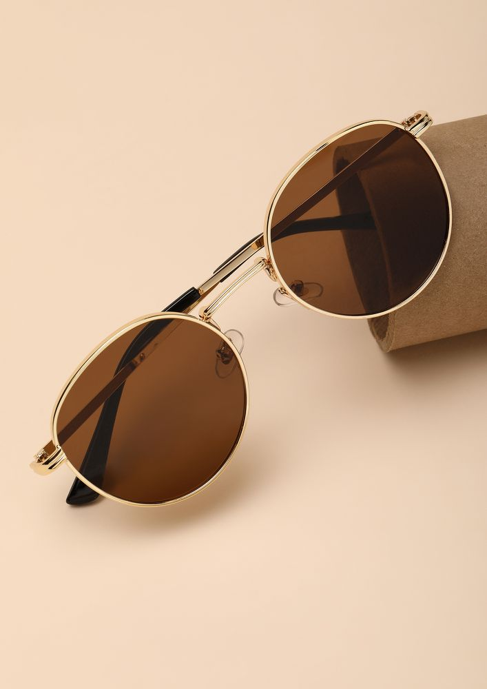 COLD LOVE TEA BROWN ROUND SUNGLASSES