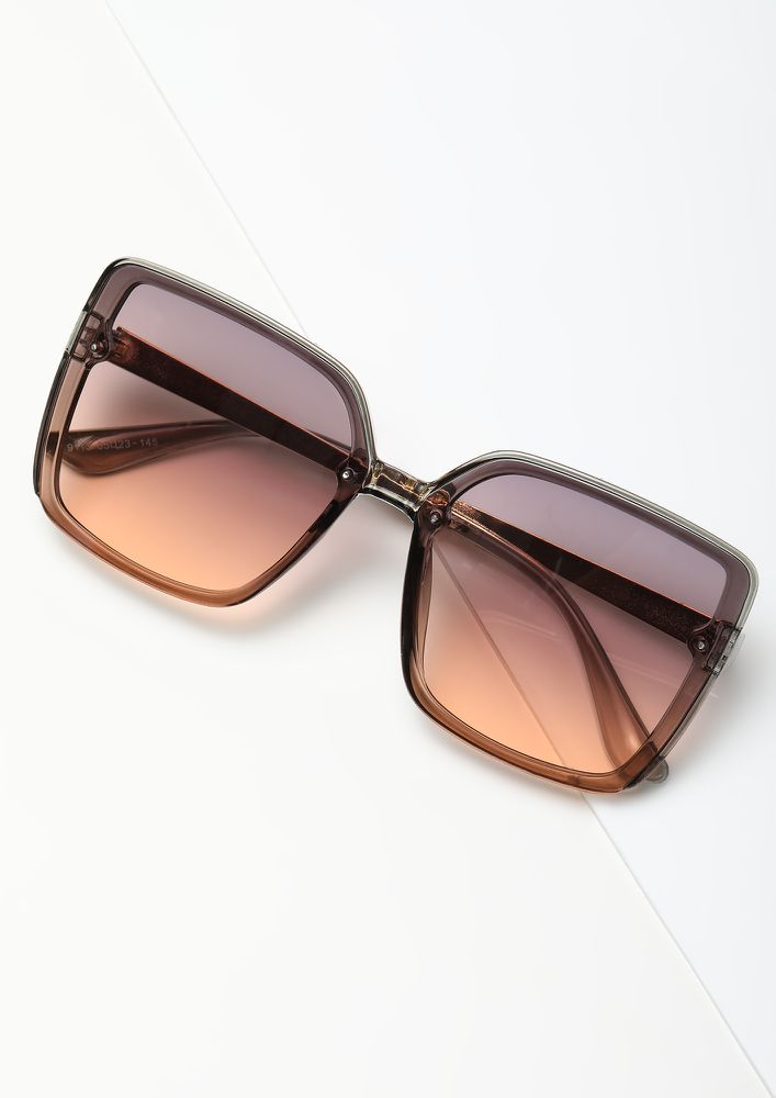 BIGGER THE BETTER ORANGE OVERSIZED SQUARE SUNGLASSES