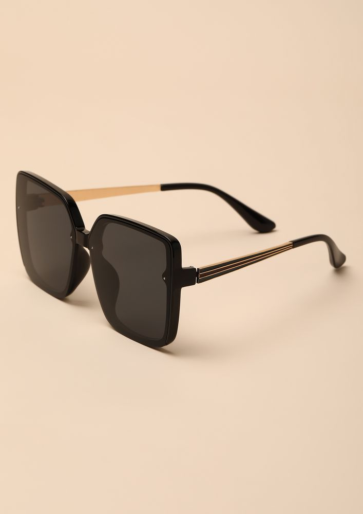 BIGGER THE BETTER BLACK OVERSIZED SQUARE SUNGLASSES