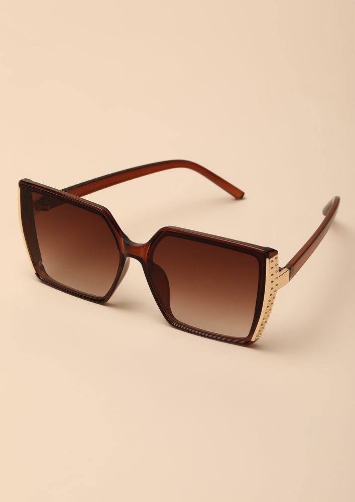 NEVER OVER THE TOP BROWN OVERSIZED SUNGLASSES