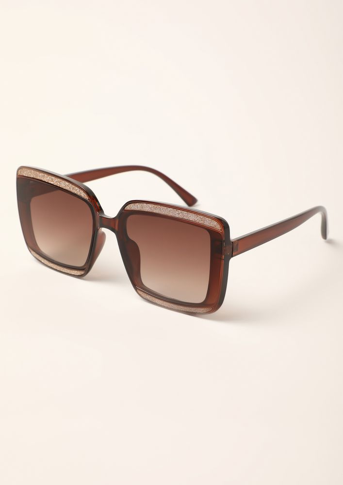 STOP STARE AND SHINE BROWN WAYFARERS
