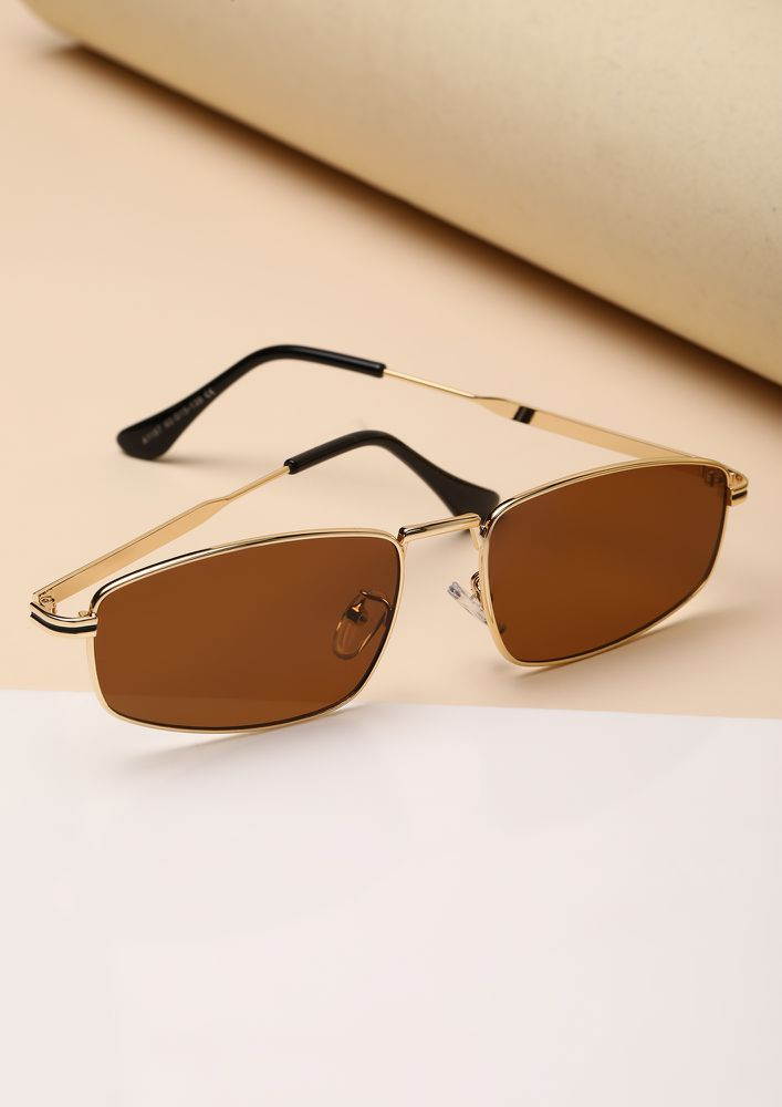 SHADY DEALS TEA RECTANGULAR SUNGLASSES