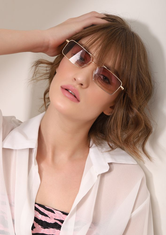 CARE TO SQUARE TEA BROWN SQUARE SUNGLASSES