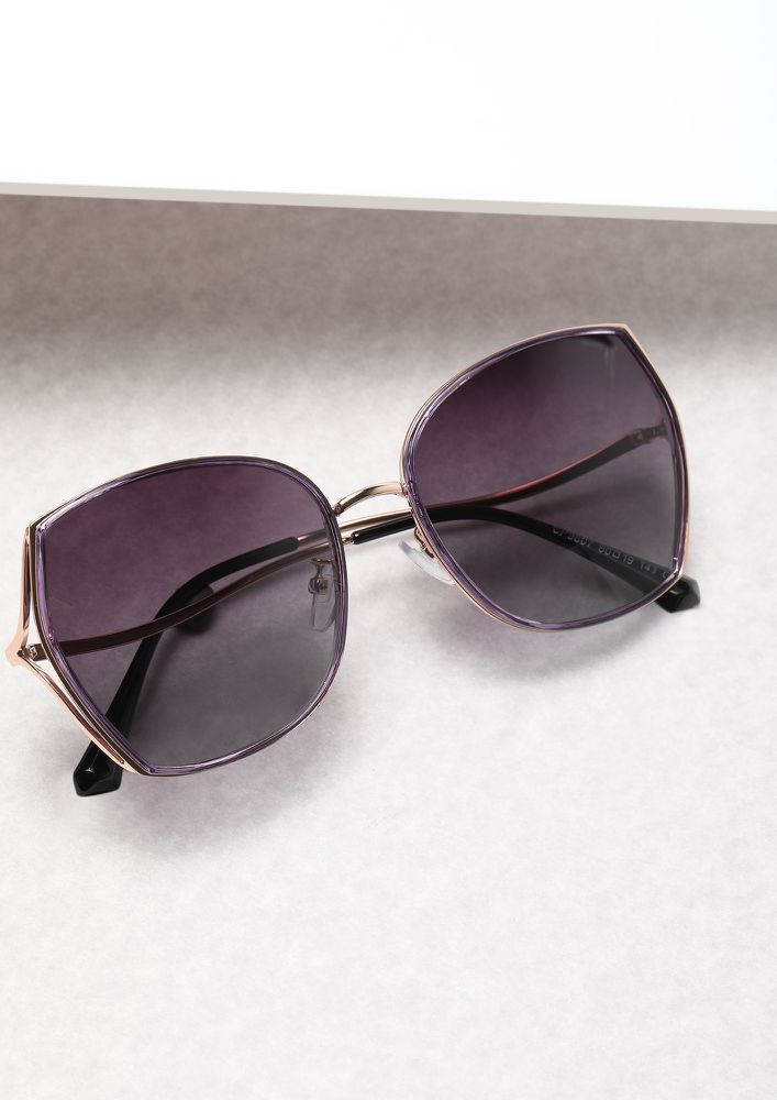 BAD AND BOUJEE PURPLE GREY WAYFARERS