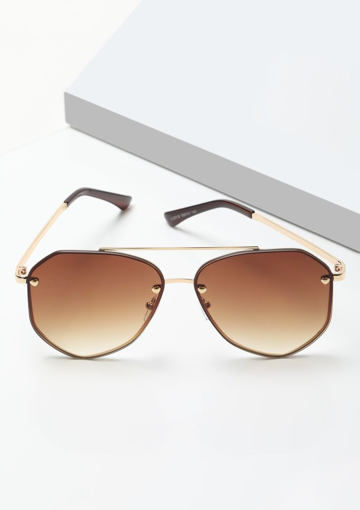 SLAY YOUR WAY GOLDEN RETRO SUNGLASSES