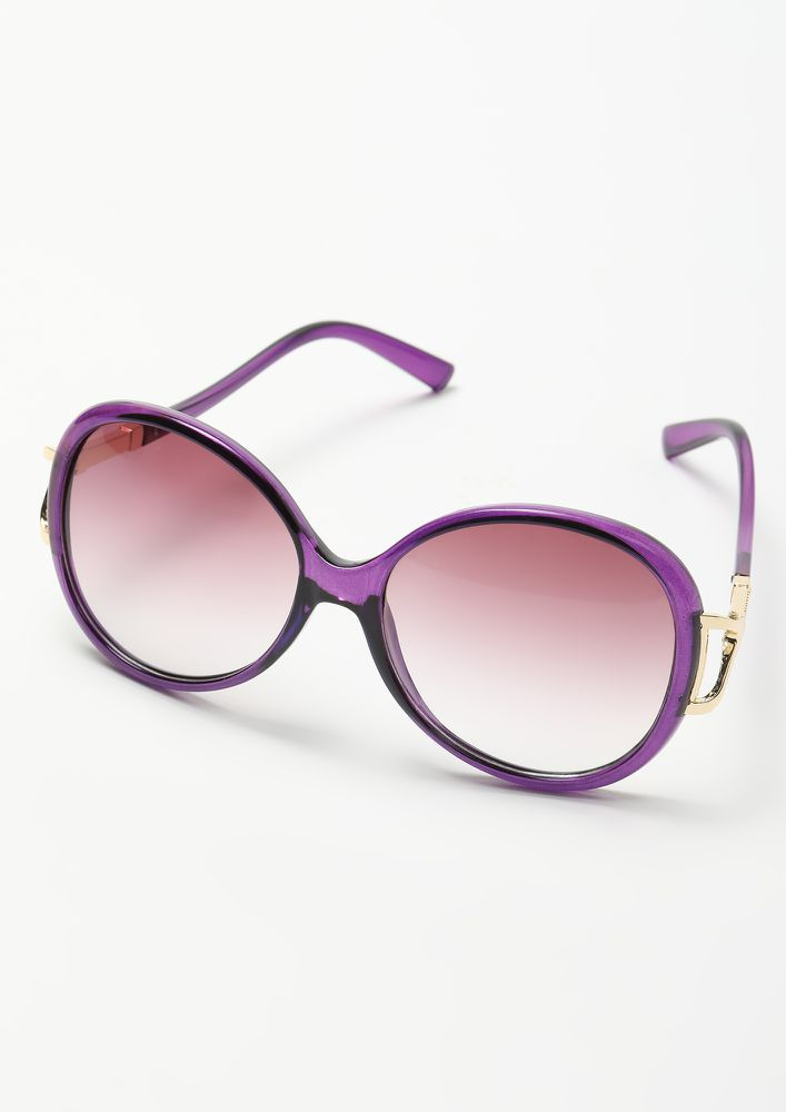 PEPPING IT UP PURPLE RETRO SUNGLASSES