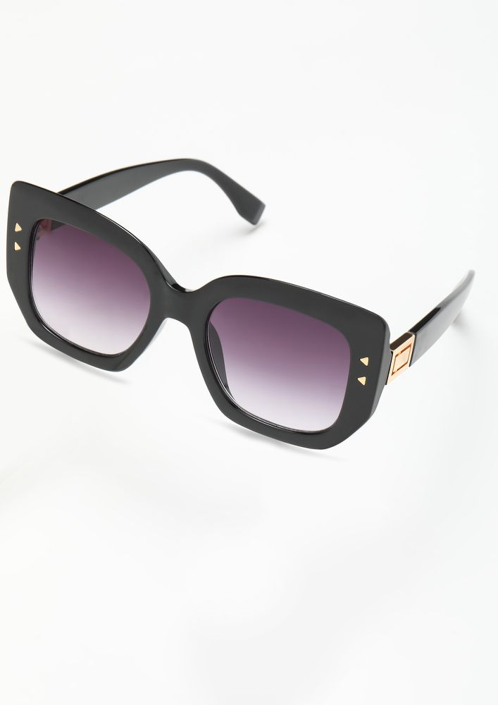 THROW BLACK  SQUARE FRAME SUNGLASSES