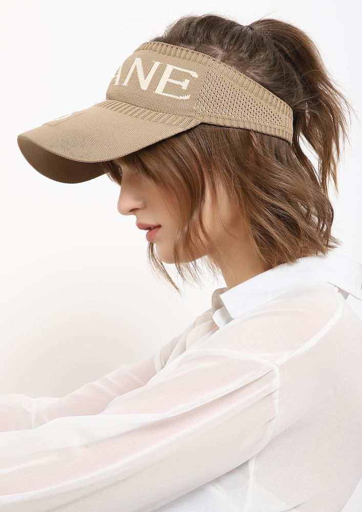 OUT IN THE SUN TAUPE VISOR CAP