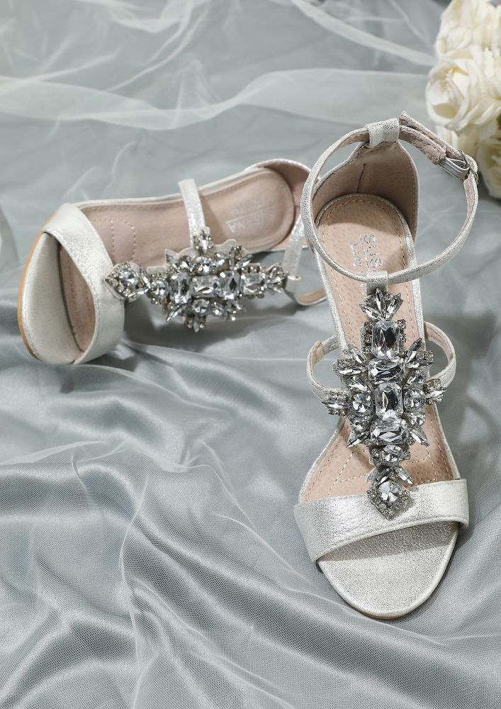 WE HEART STONES SILVER HEELED SANDALS