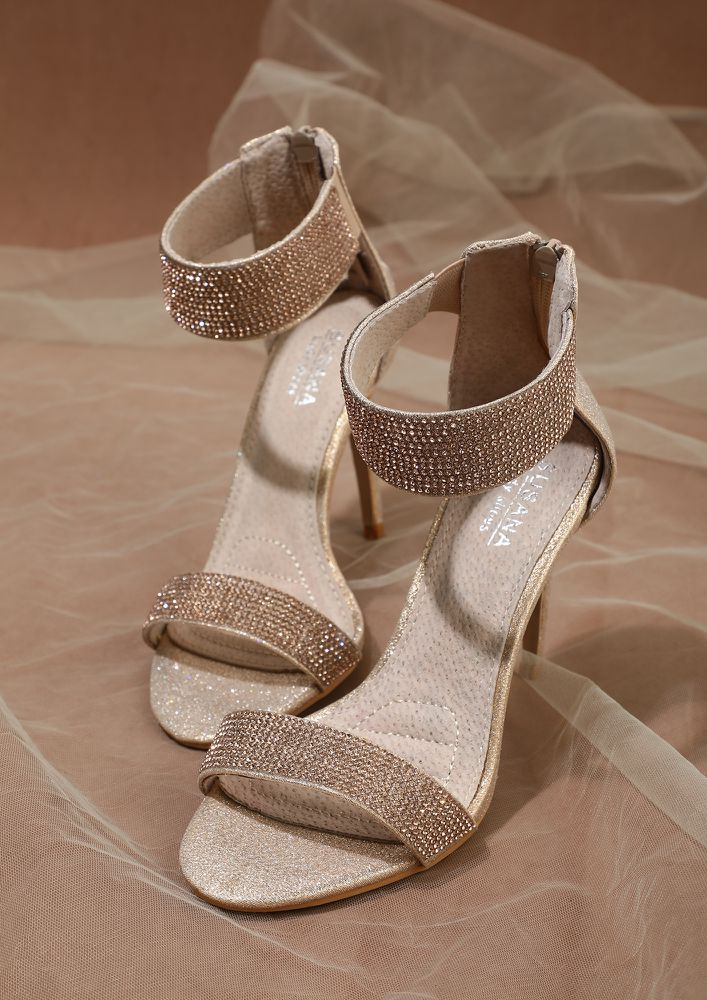 DROPPING SASS WITH EVERY STEP CHAMPAGNE HEELED SANDALS