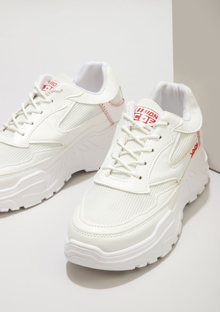 GOT XXX FACTOR RED THREADWORK WHITE TRAINERS