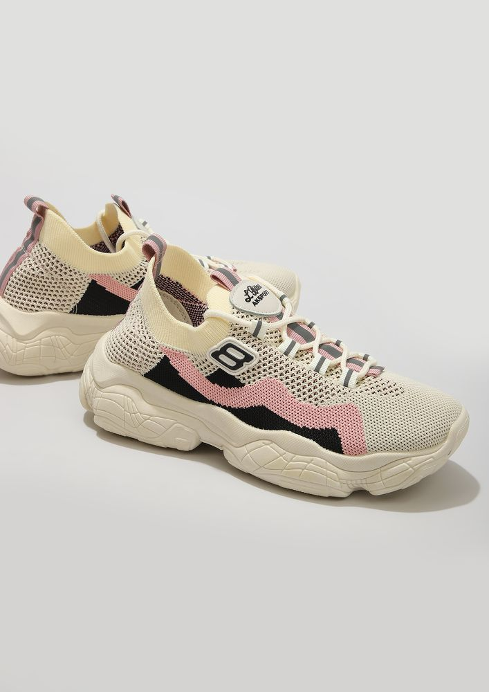 URBAN-LIFE FRIENDLY PINK BEIGE TRAINERS