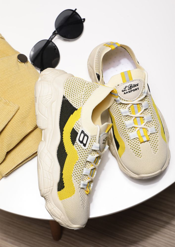 URBAN-LIFE FRIENDLY YELLOW BEIGE TRAINERS