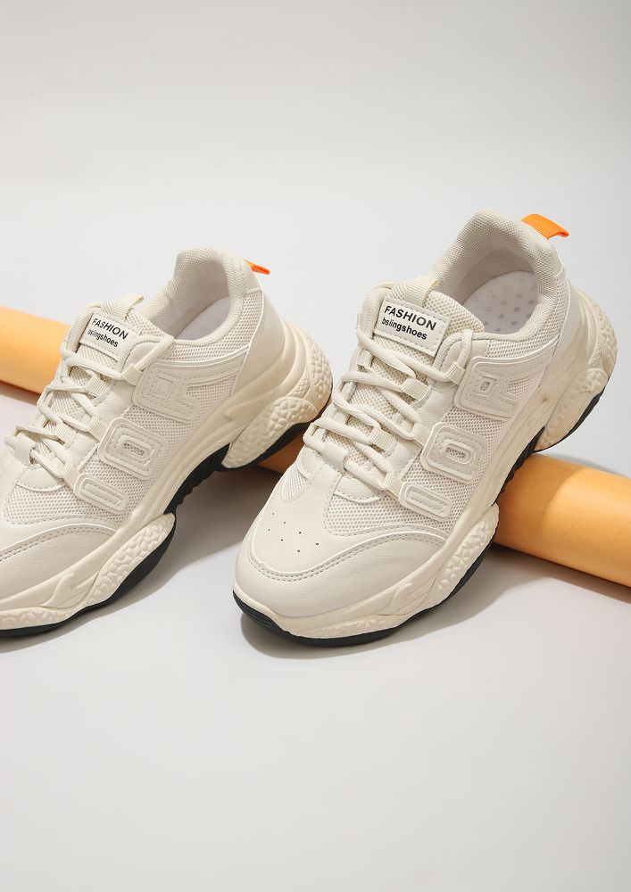 PUSH THE BOUNDARIES BEIGE TRAINERS