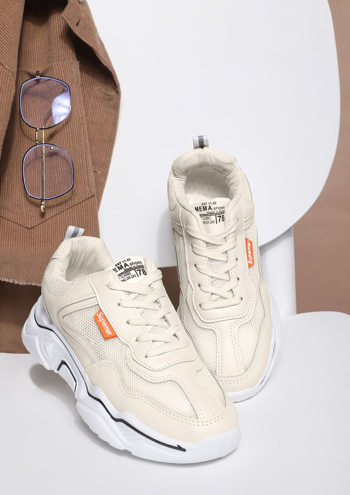 SUPREMELY FOCUSED BLACK PIPING BEIGE TRAINERS
