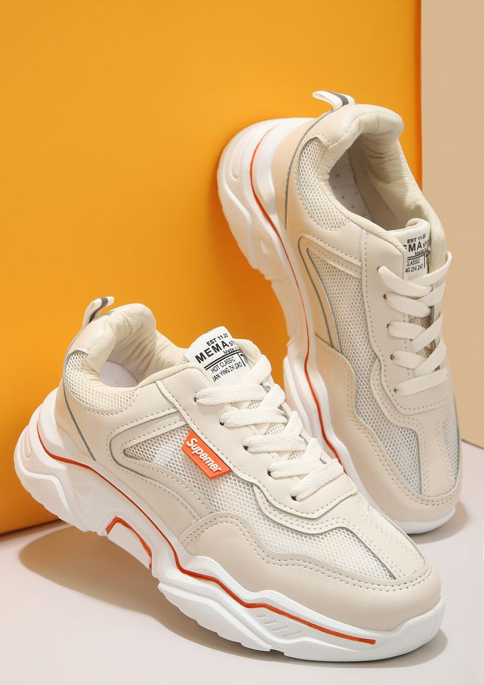 SUPREMELY FOCUSED ORANGE PIPING BEIGE TRAINERS