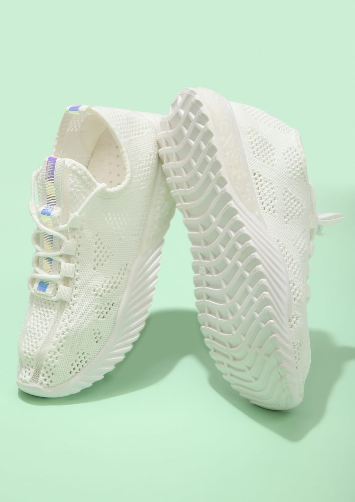 PERFORMANCE CROCHET WHITE TRAINERS