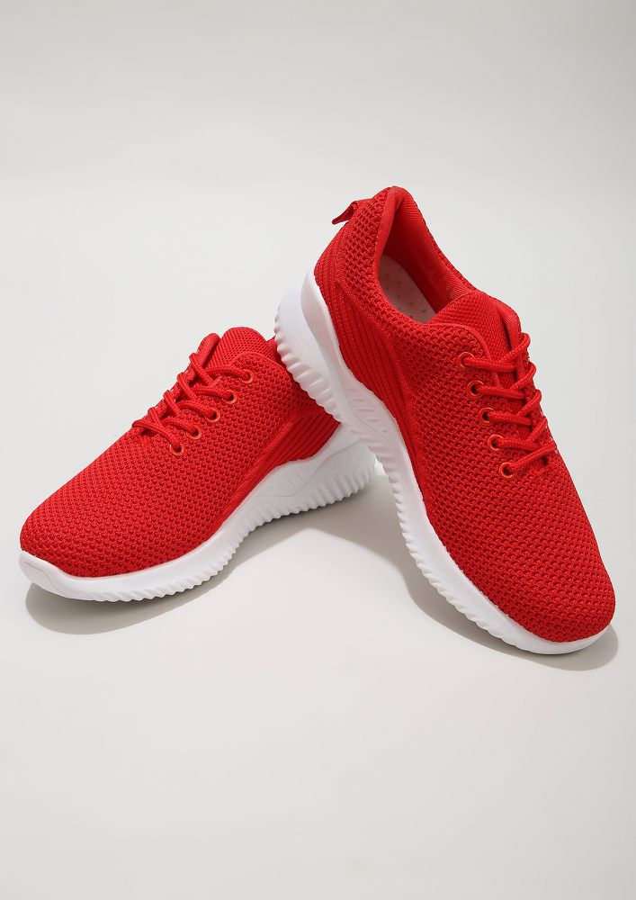 GOING BACK TO BASICS RED TRAINERS