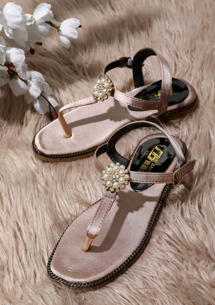 FLOWER TOPPED PINK FLAT SANDALS
