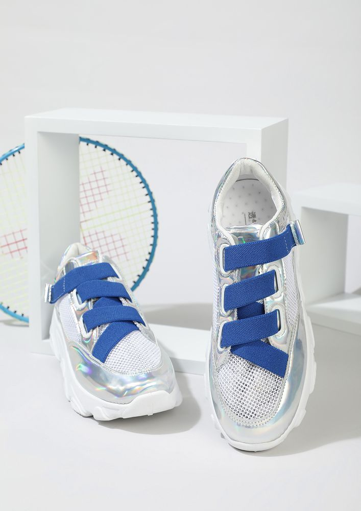 Obsession Sneaks In Blue Strap Trainers
