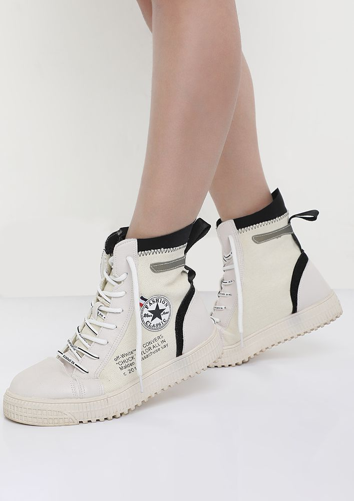 BE CLASSIC IN BLACK WHITE HI-TOP TRAINERS
