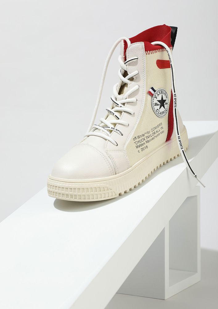 BE CLASSIC IN RED WHITE HI-TOP TRAINERS