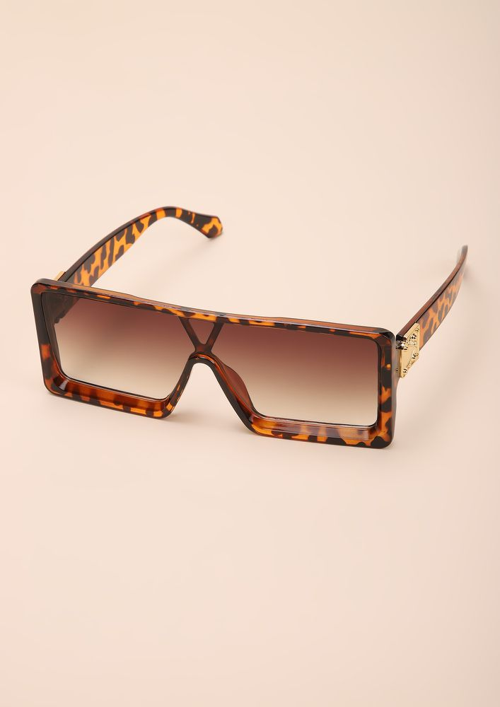 BE A BOSS BABE AMBER SQAURE FRAME SUNGLASSES