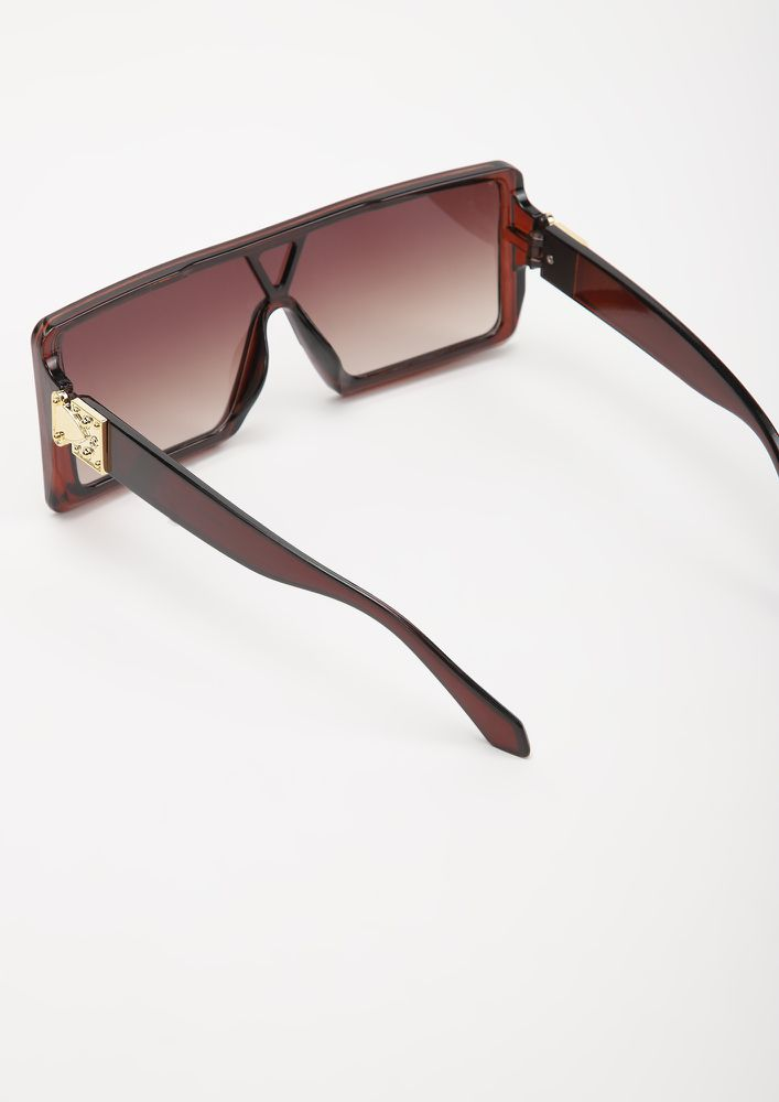 BE A BOSS BABE BROWN SQAURE FRAME SUNGLASSES