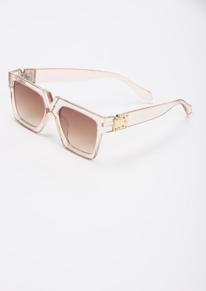 BOLD N BEASTY LIGHT TEA SQUARE FRAME SUNGLASSES