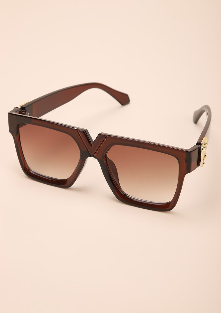 BOLD N BEASTY BROWN SQUARE FRAME SUNGLASSES