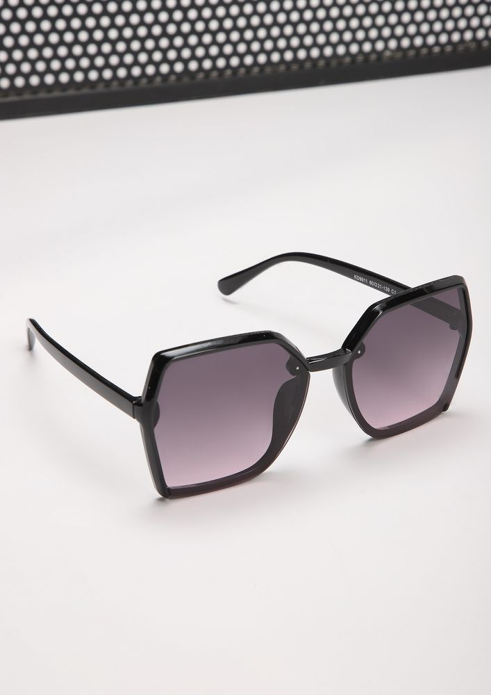 ON DUTY BLACK PURPLE SQUARE FRAME SUNGLASSES