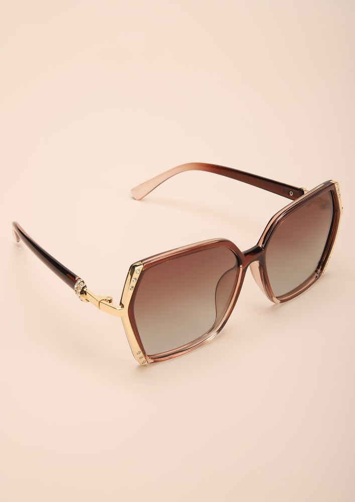 QUIT PLAYIN COFFEE SQUARE FRAME SUNGLASSES