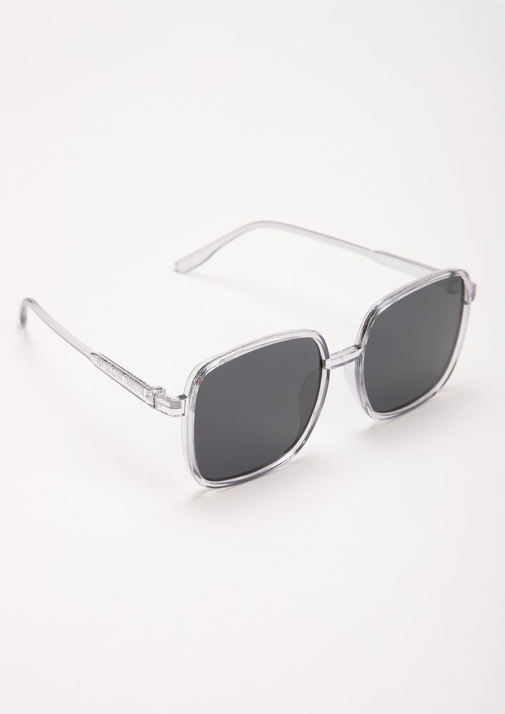 FINE LINES GREY SQUARE FRAME SUNGLASSES