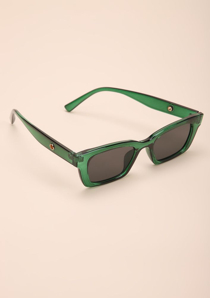 BASIC BITCH VIBE GREEN RETRO SUNGLASSES