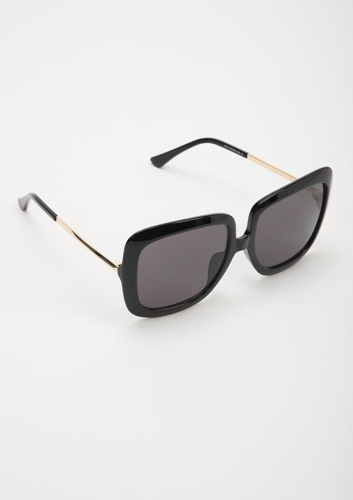 DO NOT MAKE IT PURR-SONAL BLACK SQUARE FRAME SUNGLASSES