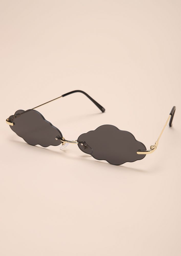 GETTIN TOO CLOUDY BLACK RETRO SUNGLASSES