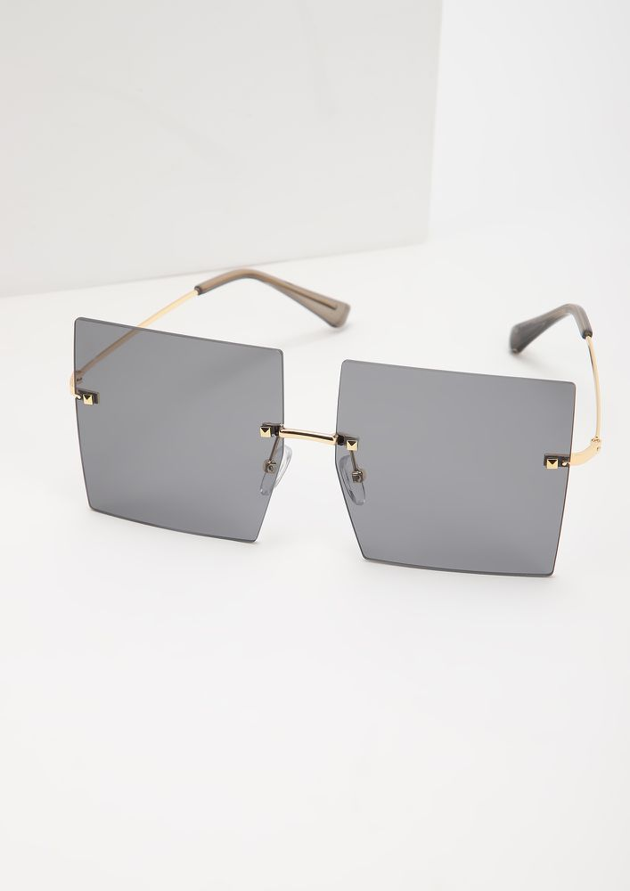 CLEAN CUTS GREY SQUARE FRAME SUNGLASSES