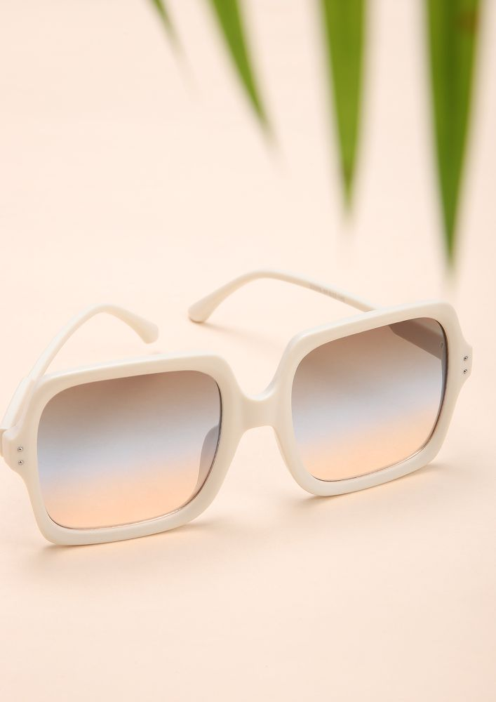 GET DOWN TO BASICS WHITE SQUARE FRAME SUNGLASSES