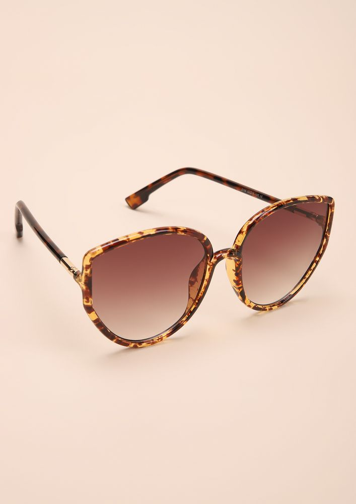 SO PURREAL AMBER CATEYE SUNGLASSES