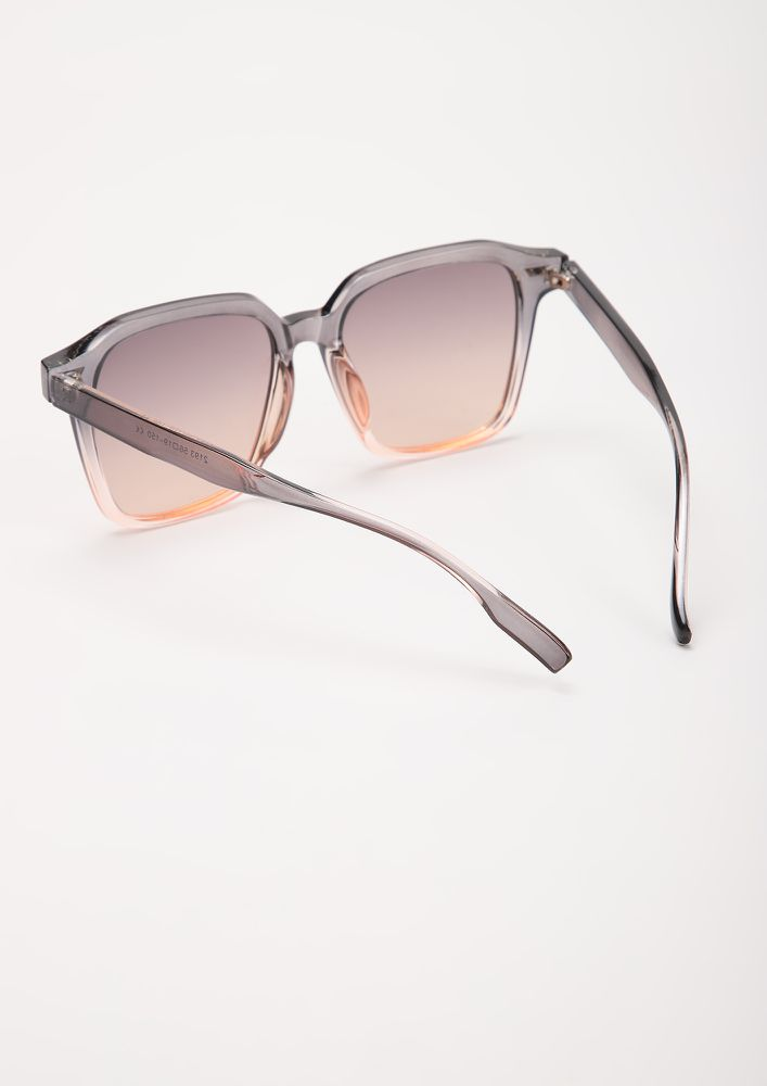 S-PRINTING ALL OVER GREY SQUARE FRAME SUNGLASSES