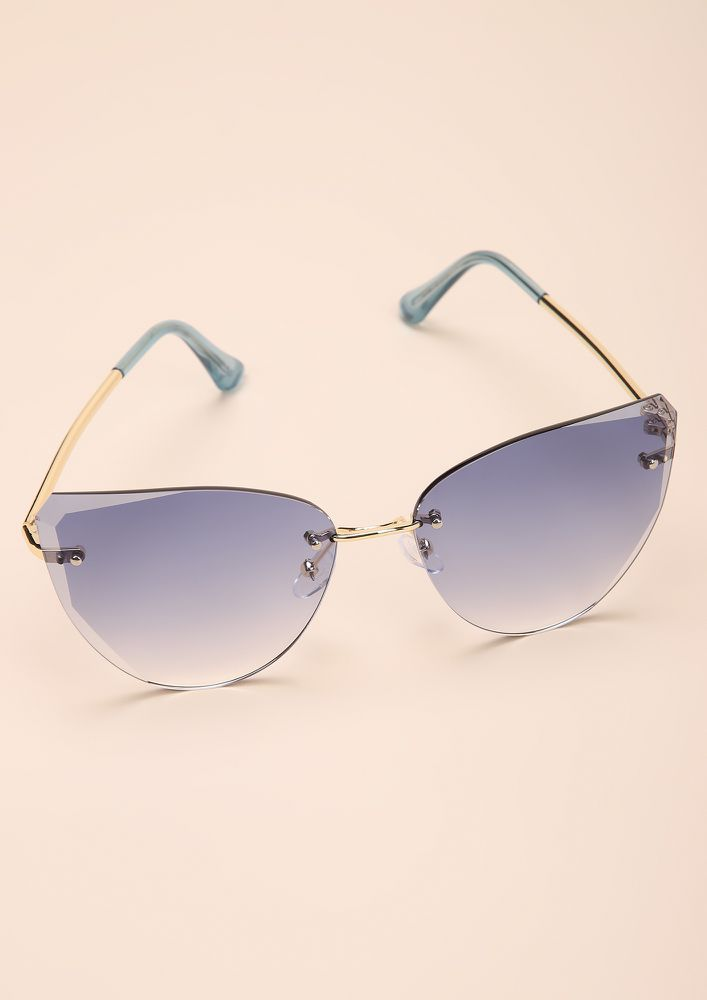 ANGLIN FOR IT BLUE CATEYE SUNGLASSES