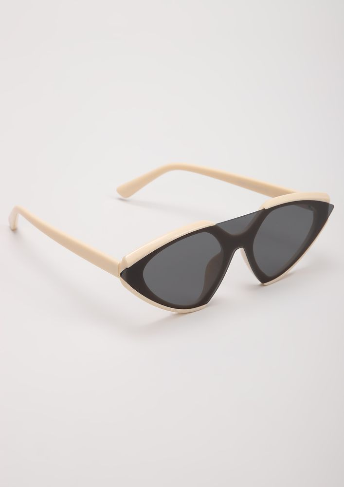 ONE GLASS TO RULE 'EM ALL BEIGE RETRO SUNGLASSES