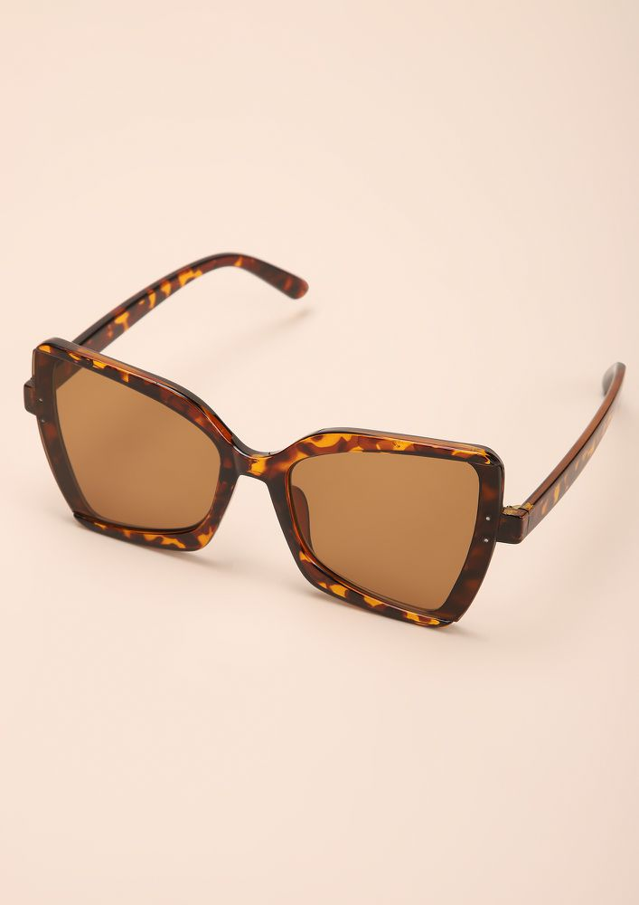 WILDFIRE AMBER SQUARE FRAME SUNGLASSES