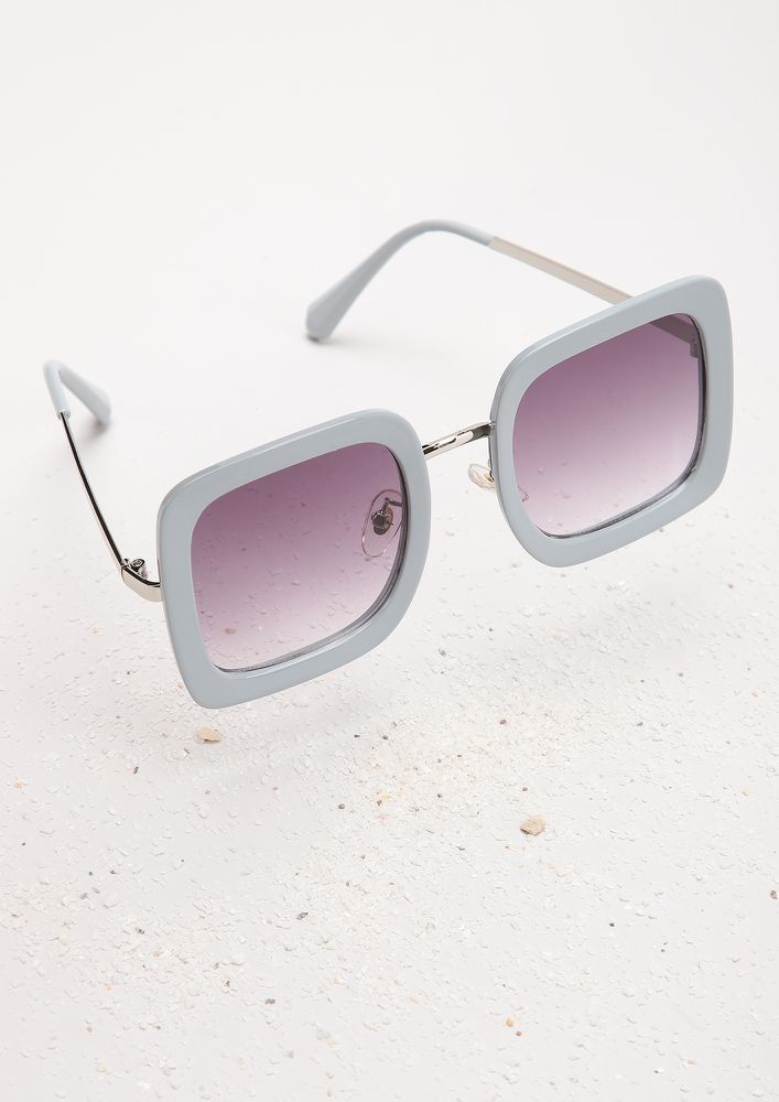 HOW FAR WILL YOU FOR PR-INT GREY SQUARE FRAME SUNGLASSES